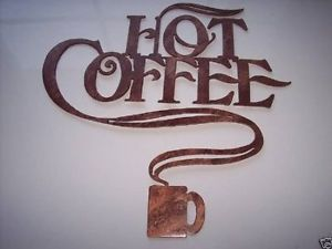 Hot Coffee Words with Coffee Cup Decorative Metal Wall Art Home Kitchen Decor