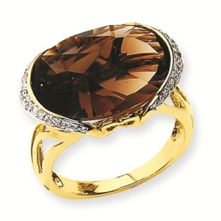 14k Yellow Gold 10 5 Carat Smokey Quartz 0 06 Carat Diamond Ring