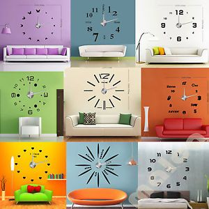 New Modern Frameless Large Wall Clock DIY Your Own Style Interior Design MAX3