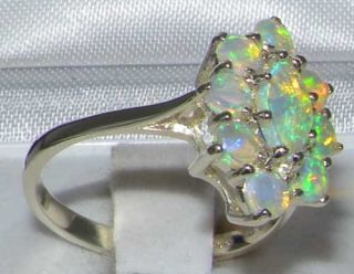 RARE Solid Sterling Silver Natural Marquise AAA Grade Fiery Natural Opal Ring