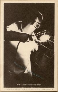 1943 Lincoln Welders Man Behind Mask Ad Photo Postcard