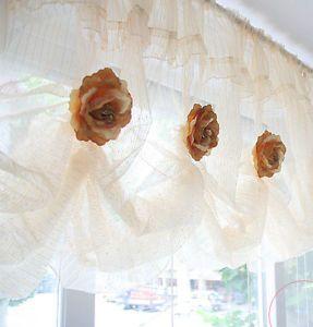Sheer Balloon Shades Valance Curtain Stripe Lace Window Treatment Kitchen Drape
