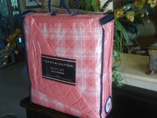 Tommy Hilfiger Pristine Plaid Coral Salmon Pink 3pc Full Queen Quilt Set