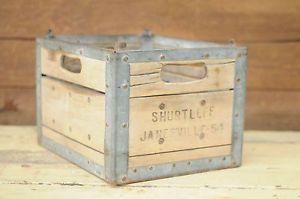 Wood Milk Crate Shurtleff's Dairy Metal Milk Crate 1954 Milk Delivery Crate Box