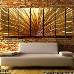"""Modern Abstract Metal Wall Art Decor Sculpture """"Metallic Gold Plumage II"""""""