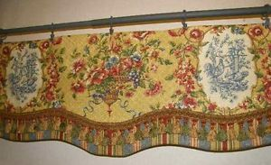 Custom Valance Window Treatment Waverly French Country Fabric Red Gold Toile