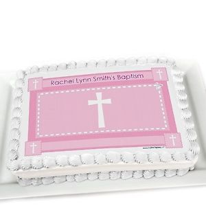 Delicate Pink Cross Edible Cake Topper Personalized Baptism Decorations