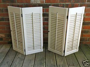 Vintage Retro Wood Painted Louvered Indoor Window Shutters 4 Panels