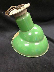 Vintage Green Abolite Porcelain Enamel Barn Gas Station Light Side Wall Mount