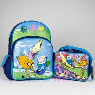 "Adventure Time Backpack and Lunch Box Set Jump 16"" Large Girls Boys Book Bag"