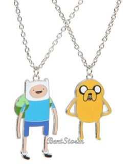 New Adventure Time Finn and Jake Necklace 2pk Dog Boy BFF Best Friends Jewelry