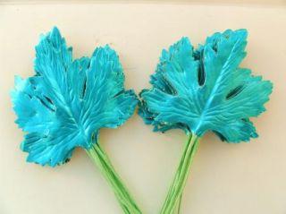 Vintage Turquoise Foil Xmas Wreath Ornament Corsage Metallic Maple Leaves H