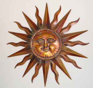 """Copper Patina Sun Face Extra Large Sunburst Metal Wall Art Hanging Decor 40"""""""