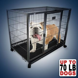 """37"""" Dog Kennel w Wheels Portable Pet Puppy Carrier Crate Cage Heavy Duty New"""
