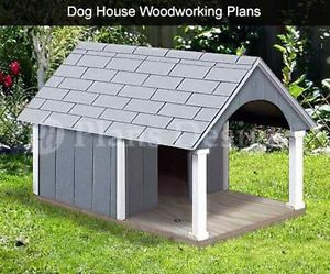 "30"" x 36"" Small Dog House Plans Gable Roof Style with Porch Design 90204G"