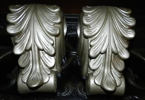 Lot of 2 Floral Designed Window Curtain Rod Valance Scarf Holders