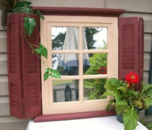 home interiors 6 pane mirror window cream trim and burgundy red shutters