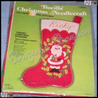 Vtg Bucilla Holly Wreath Santa Crewel Felt Stocking Christmas Kit