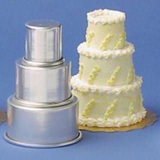 Parrish Magic Line 3 Piece Mini Tier Mini Round Aluminum Cake Set Pan New