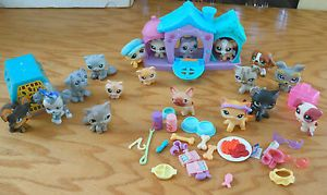 Littlest Pet Shop LPS Large Lot RARE Chihuahua Dogs Cats Dog House Play Set