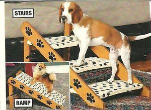 Sturdy Convertible Pet Dog 3 Steps Stairs Ramp Paw Print Design