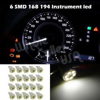 20x White T10 Gauge Cluster Instrumental Speedometer Wedge Dash LED Light Bulb