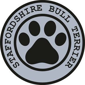1x Staffordshire Bull Terrier Paw Print Seal Track Funny Sticker Dog Pet Decal