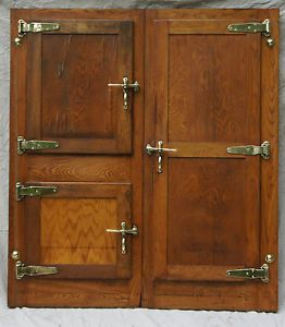 Unique Set of Vintage Ice Box Doors w Brass Hardware Freezer Doors Oak