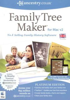 Family Tree Maker V2 Platinum for Mac 2012 6 Months Free Ancestry Co UK New