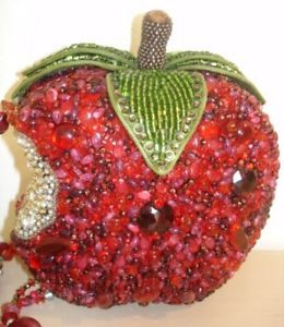 Mary Frances First Bite Red Apple Bag Crystal Big Handbag Purse Beaded Sale New