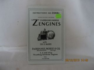 "1925 Fairbanks Morse 2 3 6 H P ""Z"" Engines Setting Instructions 2548D"
