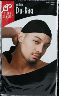 1 Black Satin Titan Classic Du Rag Cap Men's Clothing Shoes Accessories
