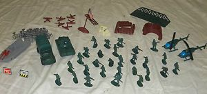 Vintage Green Army Men Toys 57 Pieces Fences Helicopters Truck and Boat