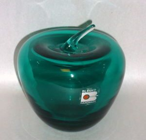"Blenko Teal Green Blown Art Glass 4 1 2"" Paper Weight Apple"
