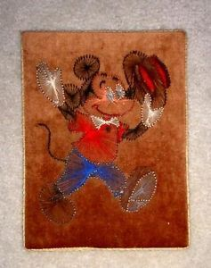 Vintage Early Walt Disney String Art Mickey Mouse Art on Velvet Wood Board