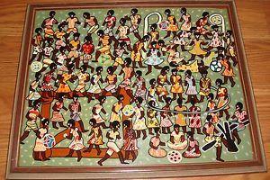 Vintage African American Folk Art Painting on Board Children Playing Zimbabwe