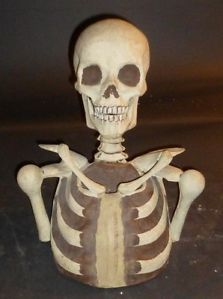 Antique Skull Skeleton IOOF Odd Fellows Carved Wood Paper Mache' Folk Art