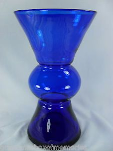 Blenko Art Glass Millennium Hand Blown Cobalt Blue Vase Hourglass Shape w Label
