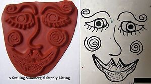 Whimsical Face Rubber Stamp Unmounted Design 4 Shrink Art Clay Paper Dolls