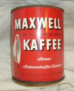 German Vintage Maxwell House Coffee Tin Can Metal Antique