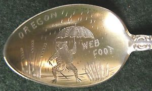 "Sterling Silver Souvenir Spoon Portland Oregon ""Web Food"" Frog Bowl 1900"
