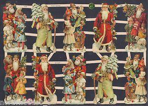Christmas Santa Children Ten Decoupage Collage Art Alter Paper Scrap EF German