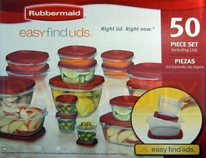 Rubbermaid 50 Piece Set Food BPA Free Plastic Storage Containers Easy Find Lids