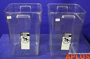 Cambro Plastic Food Storage Containers Square 22 Qt Set of 2