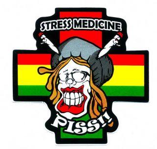 Bob Marley Smoking Cannabis Stress Medicine Funny Car Bumper Decal Sticker N53