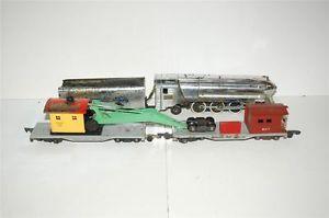 American Flyer Post War 356 Silver Bullet Engine 606 Crane 607 Work Caboose Set