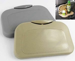 Foldable Car Auto Food Meal Drink Tray Desk Dining Table Water Cup Stand Holder