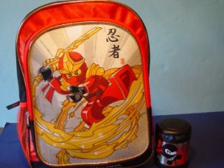 "New Lego Ninjago 16"" Backpack 3D Holographic Red Ninja Thermos Food Funtainer"