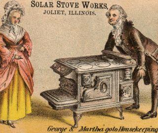 Martha George Washington Cook Stove Solar Stove Works Joliet Oneida Trade Card