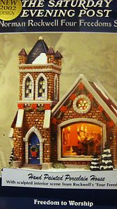 Norman Rockwell Christmas Village Church Freedom of Worship 2002 Porcelain